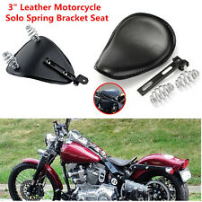 "Motorcycle 3"" Leather Spring Solo Bracket Seat For Harley Chopper Bobber Custom"