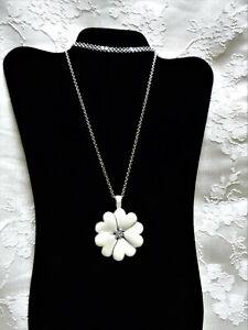 Lia Sophia Silvertone Necklace with White Enameled Flower Pendant