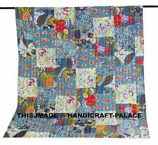 Indian Floral Patchwork Cotton Bedspread Kantha Work Coverlet Throw Twin Size