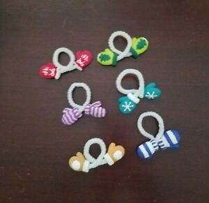 """""""Winter Mittens"""" Set of 6 Unique Crafted Wine Glass Drink Marker Charms - EUC"""