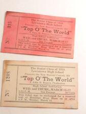 1938 Lewistown High School (Penna.) school play tickets: Top O' the World