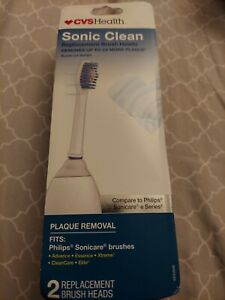 CVS SONIC CLEAN 2 Replacement Brush Heads fits philips,sonicare  e series