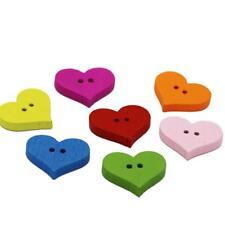 100pcs Wood Novelty Heart Design Buttons 17 x 20mm Sewing Button Art Crafts