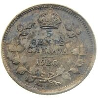 1920 Canada 5 Cents Small Silver Circulated George V Five Cents Coin P450