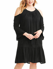 66efd536c98 Terra   Sky Womens Peasant Shift Dress Solid Black Plus Size 3x Cold  Shoulders