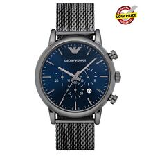 NEW EMPORIO ARMANI AR1979 LUIGI MESH BLUE DIAL 46MM MEN'S CHRONOGRAPH WATCH UK