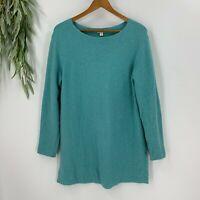 J.Jill Women's Pullover Sweater Size M Blue Cotton Knit Waffle Knit Round Neck