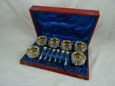 BOXED set x 6 silver gilt GERMAN SALTS & SPOONS, c1890