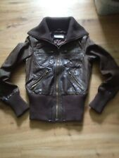 Ladies Brown Real Leather Bomber/biker Jacket Vintage A/Wear Size 8