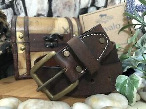 """Leather Belt Brown Genuine 3.6mm thick 1.5"""" wide Premium Handmade to order UK"""