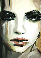 """ACEO Original Painting Collectible Art Card """"Portrait of Girl"""""""