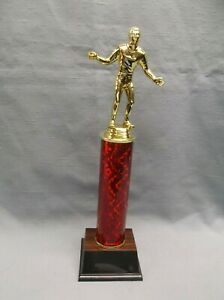 male handball  trophy red column with weighted base