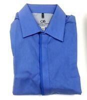 Geoffrey Beene Blue Long Sleeve Wrinkle Free Slim Fit Dress Shirt 16 32/33