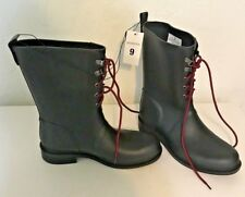 Merona Women's High Top Black Rain Boots With Red Laces Size 9