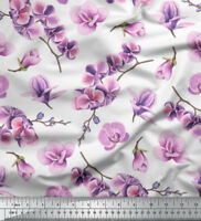 Soimoi Fabric Orchid Floral Print Fabric by the Meter-FL-849J