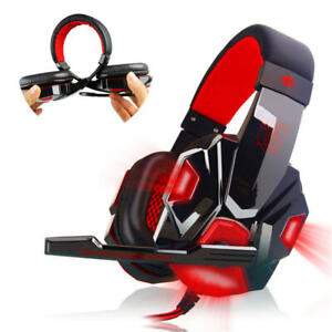 Gaming Headset Wired Over USB LED Headphones Stereo Mic For Xbox One PS4 PC PS5