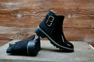 New Womens Chelsea Ankle Boots Studs Chunky Low Heel Patent Leather shoes sz