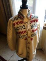 vintage susan bristol sweater 100% Wool Ivory Cardigan Size Small