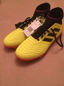 New Adidas Predator 18.3 Firm Ground Soccer Cleat Yellow Red DB2003 Men's Sz 12