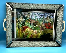 More details for vintage wooden metal glass mirror tray surprised! tiger in jungle by h rousseau