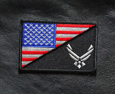 USA AIR FORCE LOGO  USA FLAG R/W EMBROIDERED TACTICAL 3 INCH  HOOK PATCH