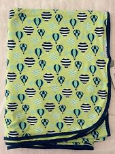 NEW KicKee Pants Double Layer Throw Blanket in Spring Grass Hot Air Balloons