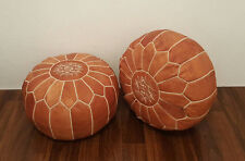 PAIR (2) New Moroccan Leather Ottoman Pouffe Pouf Footstools