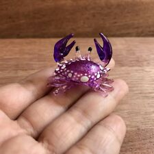 Small Purple Hand Blown Glass Crab Figurine Crab Marine Animal Collectibles
