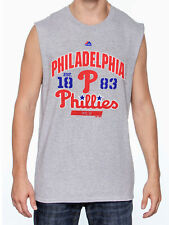 New Majestic, MLB Philadelphia Phillies Big & Tall Sleveless Muscle Tee In Gray