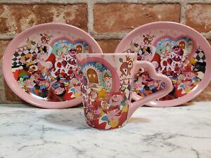 Tokyo Disneyland Alice in Wonderland Tea Cup and 2Plate SET Ceramic JAPAN NEW
