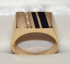 "14K ""Stuller"" Designer Diamond & Onyx Men's Ring Square Vintage Solid Gold 11mm"