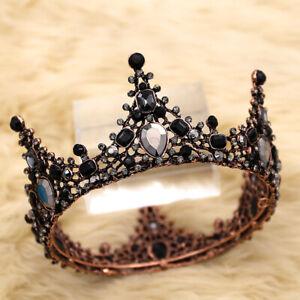 Retro Black Crystal Rhinestone Wedding Bridal Crown Headband Tiara Hair Band