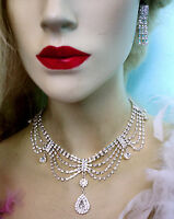 Rhinestone Crystal Necklace Earring Bridal Prom Pageant Jewerly Draped Clear