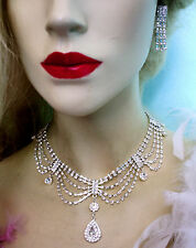Draped Clear Rhinestone Crystal Necklace Earring Bridal Prom Pageant Jewerly