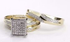 10K Yellow Gold Men Women HisHer Diamond Engagement Bridal Wedding Trio Ring set