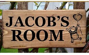 Winnie The Pooh Name Plaque Plate Sign Personalised -Toys Bedroom Gift Kids Room