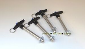 """4 - QUICK RELEASE PIN 3"""" GRIP X 3/8"""" DIAMETER STAINLESS STEEL"""