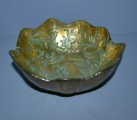 VINTAGE VIETRI SMALL RUFFLED BOWL/CANDY DISH GOLD GREEN GLASS MADE IN TURKEY