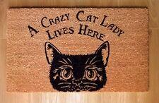 A CRAZY CAT LADY LIVES HERE DOORMAT - NEMESIS NOW DOOR LOBBY COIR COCONUT MAT