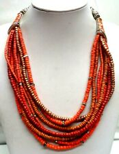 "Tone Rhinestone 21"" Necklace! 4017K Stunning Vintage Estate Signed Chicos Coral"