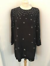 Steven Alan 100% Silk Black White Purple Long Sleeve Floral Shift Dress Sz 6 EUC