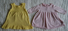 Next 2x long and short sleeve dress set for girl 3-6 months yellow pink