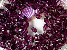 VTG 100 PURPLE FACETED DROP FRINGE JEWELRY GLASS BEADS 7x5mm #050212k