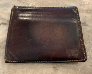 Men's Coach Brown Leather Bifold Wallet With ID Window Vintage