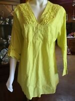 Ladies Cotton Shirt. Yarra Trail Tunic Top Size 16.New. Yellow. Roll Up Sleeves