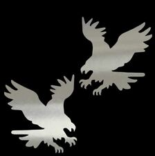 (2) AMERICAN EAGLE Chrome Vinyl Decal Set- 6 INCH FOR CAR,TRUCK,LAPTOP,MUG,GLASS