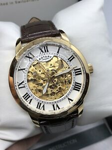 Rotary Automatic Skeleton Gold Plated Leather Strap Men's Watch GS03096/21