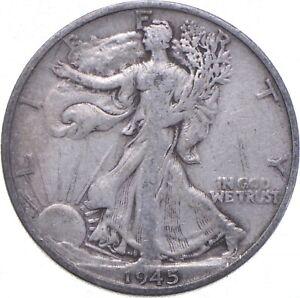 XF+ 1945-S Walking Liberty 90% Silver US Half Dollar - NICE COIN *593