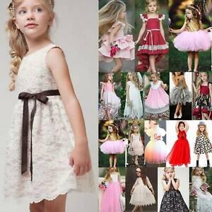 Kinder Prinzessin Partykleid Kleider Blumen Mädchen Festlich Tutu Festlichkleid