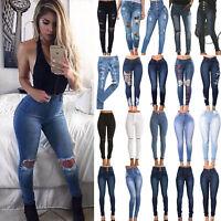 Women High Waist Stretch Ripped Jeans Denim Pencil Pants Skinny Trouser Jeggings